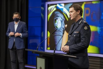 Chief Commissioner Shane Patton and Premier Daniel Andrews speak to media on Wednesday.