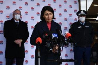 NSW Premier Gladys Berejiklian on Sunday morning at the Royal North Shore Hospital.