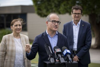 Acting Premier James Merlino with Environment Minister Lily D'Ambrosio and former federal climate change minister Greg Combet.