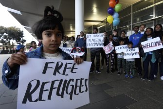 Latasha Jesuthasan, 5, was among the supporters who welcomed the Murugappan family at Perth Airport on Tuesday.