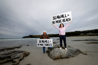 Jo Austin and his daughter Adelaide McLeod want the council to postpone plans to build a 410-metre rock wall at Bridgewater Bay.