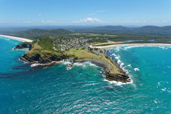 Aerial view over Crescent Head on the Mid North Coast in NSW.