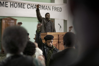 LaKeith Stanfield, foreground center, and Daniel Kaluuya in Judas and the Black Messiah.