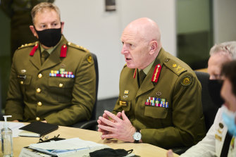 Lieutenant-General John Frewen speaks during a Zoom meeting in Canberra on Tuesday.
