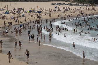 Beachgoers at Sydney's Coogee on January 23 this year,