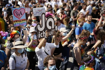 Zurich's pride parade on Saturday, September 2, 2021 was focussed on the referendum.