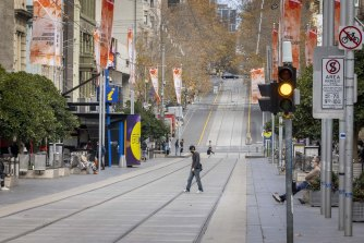 Foot traffic was down by more than half in Melbourne's CBD on Wednesday.