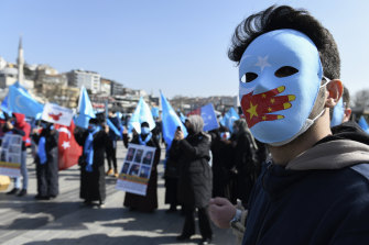 A February protest against China's internment policy in Istanbul. More than a million members of China's Muslim minorities, including Uighurs and Kazakhs like Sayragul Sauytbay, have been jailed in the name of counter-terrorism.