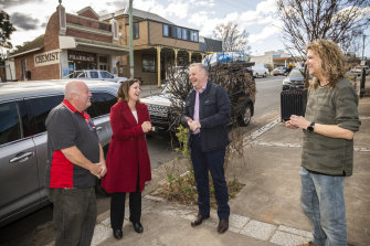Labor leader Anthony Albanese campaigning alongside Eden-Monaro candidate Kristy McBain in Cobargo this week.