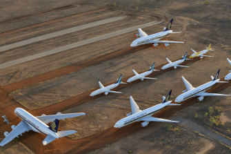 Global airlines parked thousands of airplanes after the coronavirus pandemic sharply reduced travel demand.