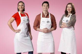 MasterChef's top three finalists of 2020: Laura Sharrad (left), Reynold Poernomo and Emelia Jackson.