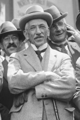 Australian Prime Minister Billy Hughes outside Central Hall, Sydney, on his return from the Paris Peace Conference, July 1919.