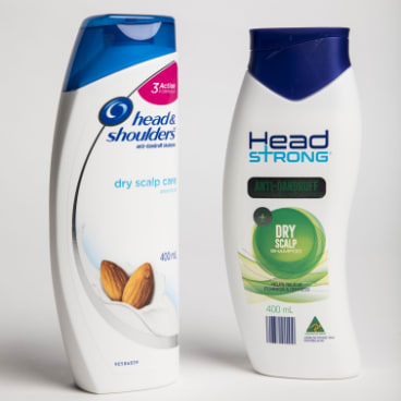 Head and Shoulders and Aldi's Head Strong shampoo.