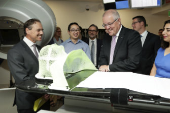 Prime Minister Scott Morrison and Health Minister Greg Hunt visit the Icon Cancer Centre in Canberra in April.