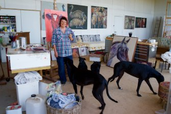 Animal-loving artist Lucy Culliton in  her studio.