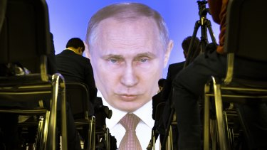 Russian President Vladimir Putin gives his annual state of the nation address in Moscow this month.