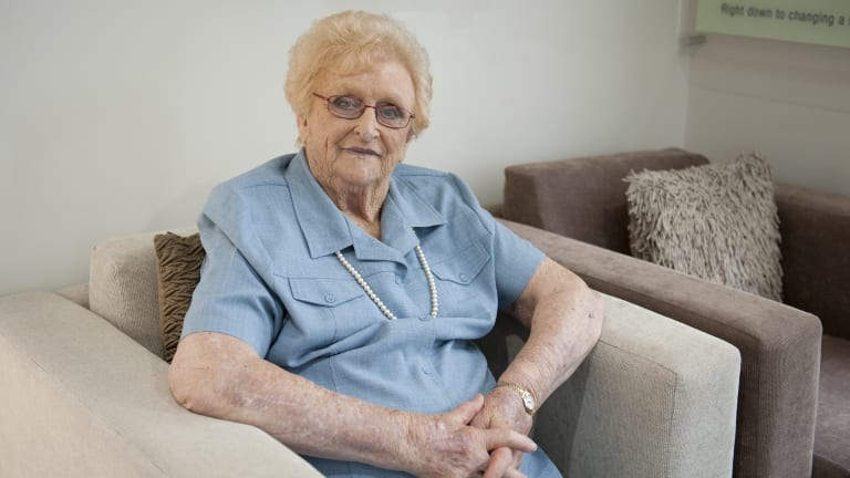 Lady Flo Bjelke-Petersen, pictured in 2013, died in Kingaroy on Wednesday.