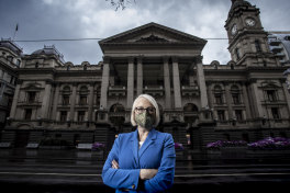 Lord mayor Sally Capp outside Melbourne Town Hall during last year's stage four restrictions.