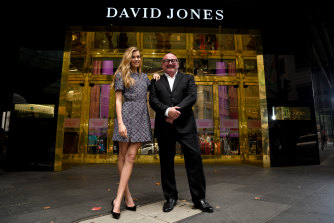 David Jones boss Ian Moir and ambassador Victoria Lee outside one of the new entrances to the store.