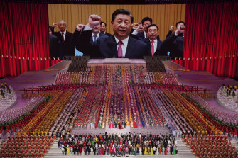 Xi Jinping at the 100th anniversary of the Chinese Communist Party in Beijing in June.