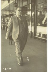 "Abraham ""Jack"" Rudov strides proudly along Dean Street, Albury, close to his store, Rudov Modes."