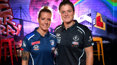 Brianna Davey (right) and Hannah Scott of the Bulldogs will face off in the AFLW Pride game.