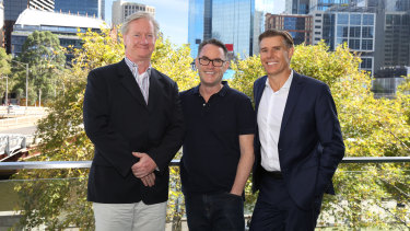 The new-look McGrath Ltd, from left: Peter Lewis (chairman); John McGrath (executive director); and Geoffrey Lucas (CEO)