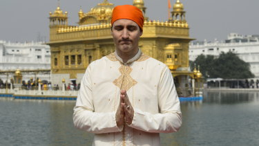 Justin Trudeau at the Golden Temple in Amritsar, India.