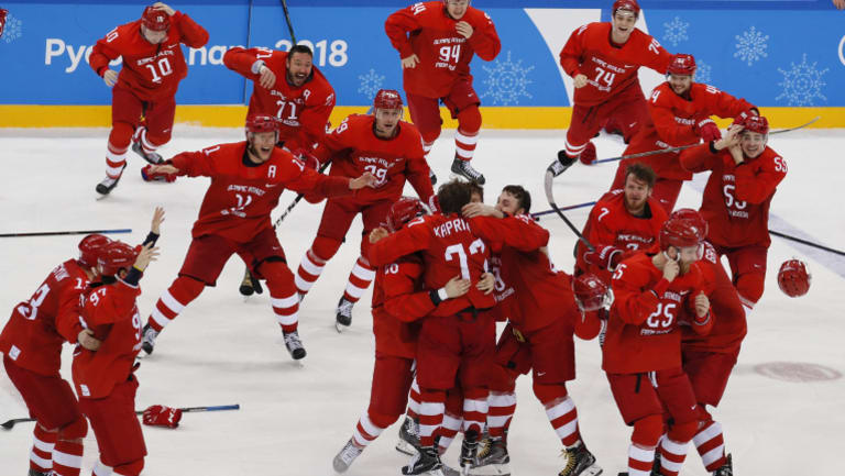 The victory marked the first time a team from Russia have won the gold medal in hockey since 1992.