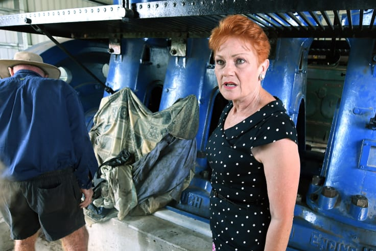 Senator Hanson is seen inspecting old diesel machinery in Ayr on Friday.