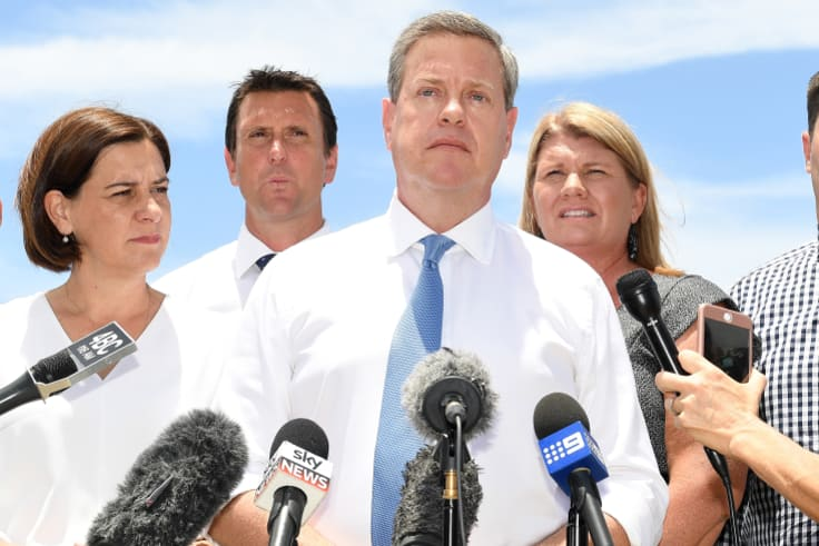 Queensland Opposition Leader Tim Nicholls on Tuesday after meeting with elected members in Beachmere, near Brisbane.