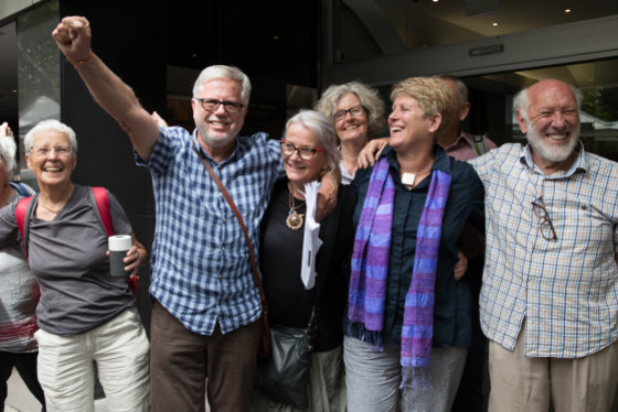 Gloucester residents jubilant after their win in the Land and Environment Court in Sydney against the proposed Rocky Hill open-cut coal mine near their town.