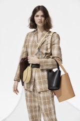"Oroton jacket, $599, and pants, $399; ""Celia XL"" clutch, $369; ""Anouk"" crossbody bag, $279; ""Frida Mini"" satchel, $399; small bucket bag, $299;  large bucket bag, $429."
