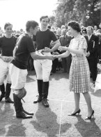 Christopher Ashton meeting the Queen after a polo tournament with Prince Charles.