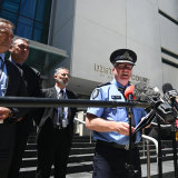 WA Police Commissioner Chris Dawson, flanked by Macro detectives, addresses the media following the sentencing of Bradley Edwards.