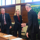 WA Nationals leader Mia Davies and Liberal leader David Honey shake on their alliance agreement