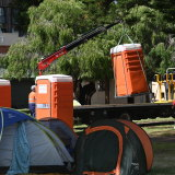 Toilets have been removed from 'tent city' in Fremantle.