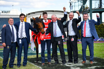 Anthony and Sam Freedman with Caulfield Guineas winner Super Seth and connections.