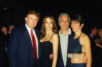 Donald Trump and his then-girlfriend Melania Knauss with Jeffrey Epstein and British socialite Ghislaine Maxwell at Mar-a-Lago in February 2000.