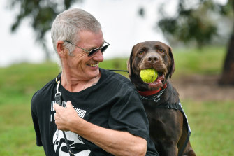 Ron Fenton with his trauma dog, Yogi.