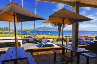 The viewacross to Gulaga (Mt Dromedary) from the deck of the Bermagui Beach Hotel.