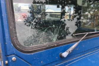 The windscreen damaged by a potato fired from a makeshift potato cannon on Thursday morning.