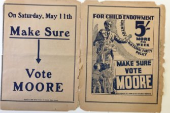 Party leader Arthur Edward Moore focused on women's issues in the 1929 election when Irene Longman won her seat.