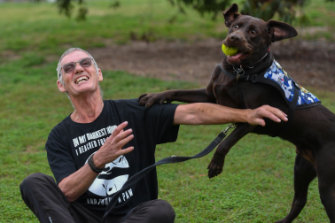 'All I have is my dog': Ron Fenton with Yogi.