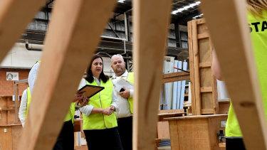 Queensland Premier Annastacia Palaszczuk (centre) visits the TAFE Skill Centre at Acacia Ridge.