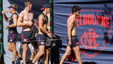 Melbourne players at training this week.