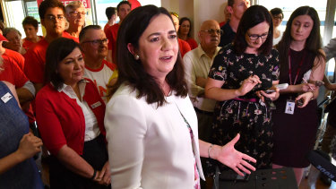 Premier Annastacia Palaszczuk held her first campaign event at Darra's Cementco Bowls Club.