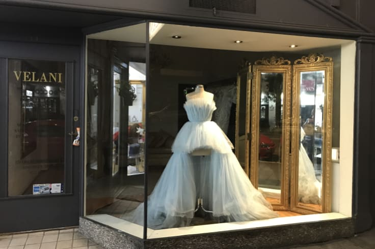 Roxy Jacenko's dress in the window of Five Dock's Velani 48 hours after the Gold Dinner.