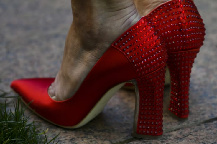 Lady in red: Julie Bishop's now-famous red shoes.