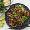 Karen Martini's stir-fried pork belly with chillies and sugar snap peas